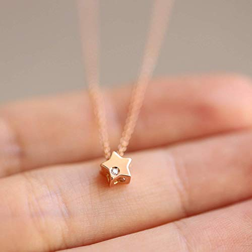 (14K Gold Star Circle Flower Charm Pendant Necklace, Dainty Diamond Charm Necklace, Minimalist Layering Necklace, Gifts for Her)