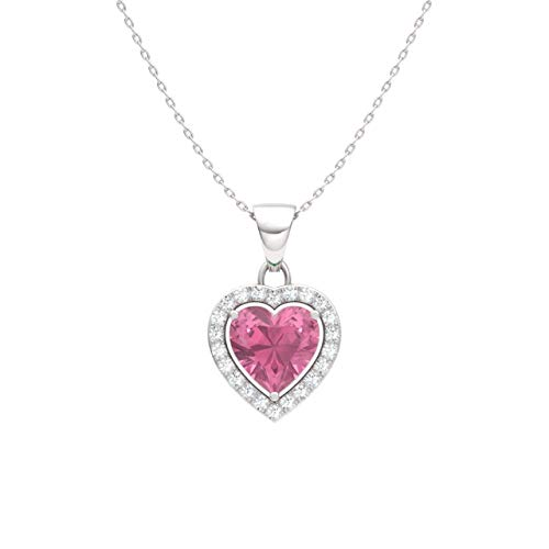 Diamondere Natural and Certified Pink Tourmaline and Diamond Heart Petite Necklace in 14k White Gold | 0.51 Carat Pendant with Chain