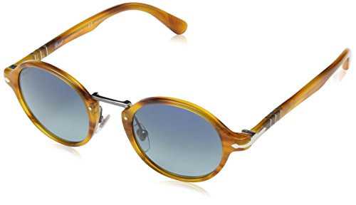 Persol Unisex PO3129S Sunglasses Striped Havana / Blue Grad Dark Blue Polar 46mm (Striped Plastic Sunglasses)