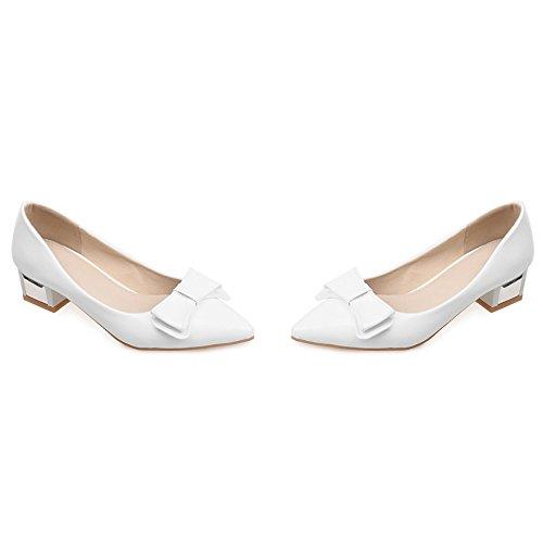 Fashion Court Heel Bianco Bow Block Taoffen Shoes AdxZPWq6Pw