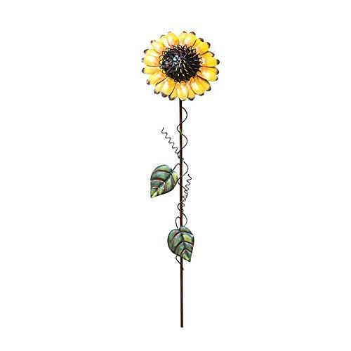 Sunflower Stake - ACCENTHOME Lenox Collection Tin Sunflower Garden Pick Garden Decor, 22-Inch Tall, Yellow