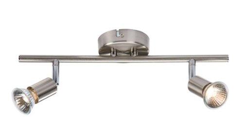 Double brushed satin chrome wall ceiling spotlight bar mains 230 double brushed satin chrome wall ceiling spotlight bar mains 230 volt complete with gu10 aloadofball Images