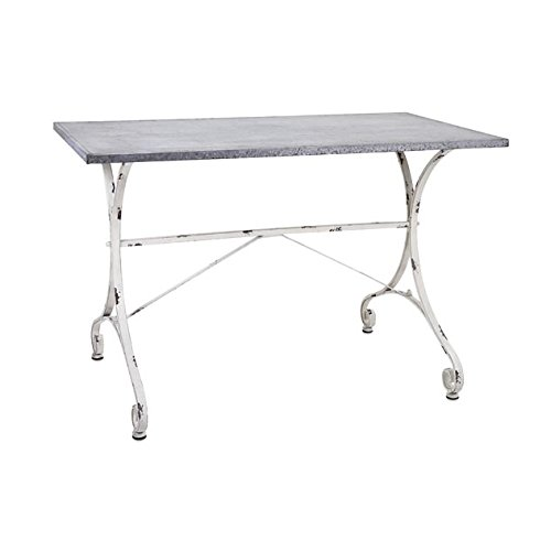 CC Outdoor Living 44'' Kathryn Distressed White and Gray Galvanized Metal Outdoor Flower Garden Re-Potting Table