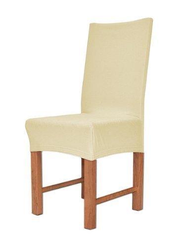 Edle Stuhlhusse Husse Stretchhusse aus Baumwolle - Elastic Stuhlüberzug Farbe Creme