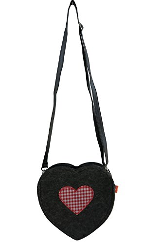 Filztasche Herz Umhängetasche aus Filz dunkelgrau mit roten Herz 21x19 cm