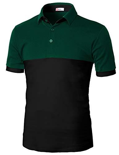 中間クルーズ三十【H2H】 メンズ カジュアル ゴルフウェアー ファッション ベーシック 無地 スリームフィット ワンポイント 半袖 ポロシャツ