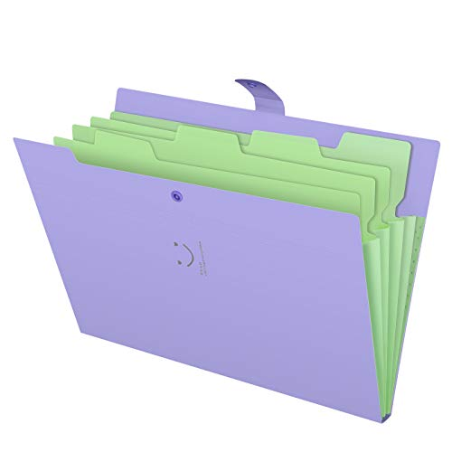 (Skydue Letter A4 Paper Expanding File Folder Pockets Accordion Document Organizer (Purple))