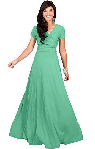Long Mint (KOH KOH Womens Long Cap Short Sleeve V-Neck Flowy Cocktail Slimming Summer Sexy Casual Formal Sun Sundress Work Cute Gown Gowns Maxi Dress Dresses, Moss/Mint Green M 8-10)