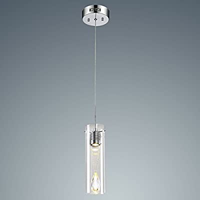 YOBO Lighting Modern Glass Chrome Hanging 1-light LED Pendant Light Heart of Ocean Crystal Cylinder