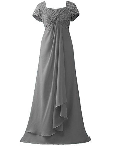 Maniche Della grey Perline Cap Promenade Abiti Steel Sposa Abiti Convenzionali Paillettes Cdress Di Madre TqFqxwtX6
