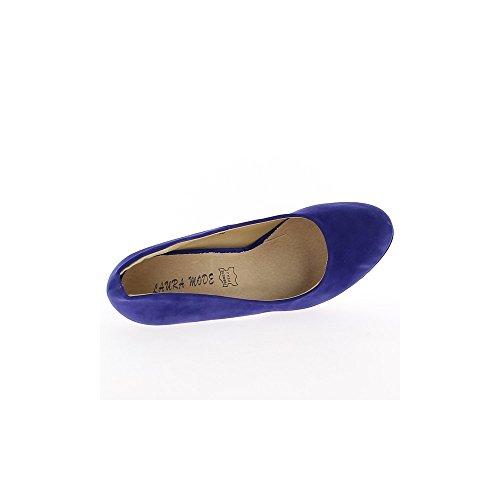 Azul 13 cm y plataforma de aspecto gamuza con tacones
