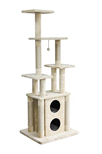 AmazonBasics Cat Tree Tower with Two Story Condo And Scratching Post - 29 x 24 x 72 Inches, Beige