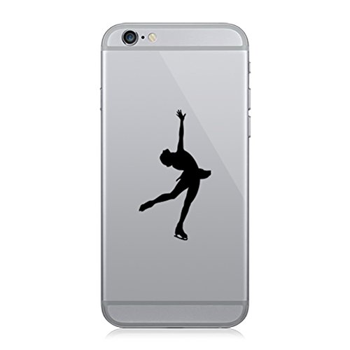 Figure Skating Sticker - RDW Pair of Figure Skating Cell Phone Stickers Mobile ice Skating - Matte Black