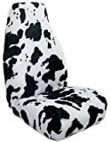 Pair of Front Furry Cow Print Seat Covers For Cars With Head Rests