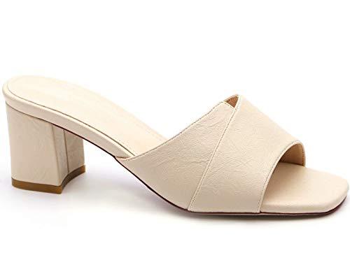 MaxMuxun Women Shoes Faux Suede Clogs Open Toe Sandals Mid Block Heel Mules (10 US, Beige Square Toe)