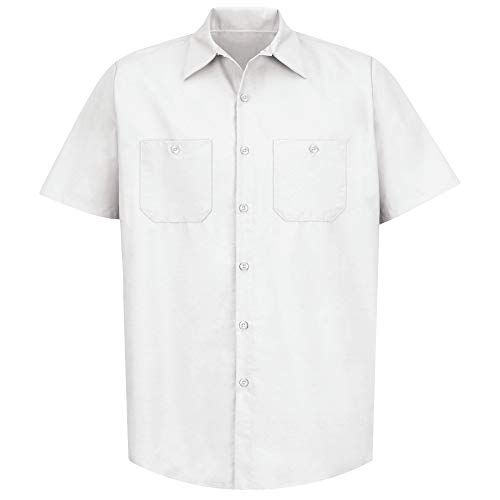 Red Kap Short Sleeve Industrial Solid Work Shirt White Large - 2 Pack