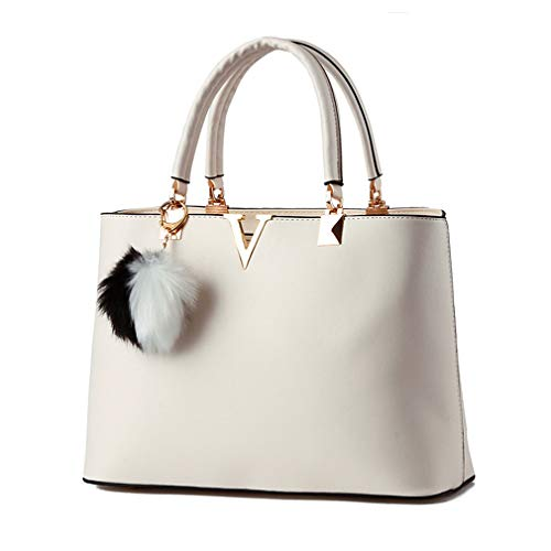 Pahajim 2017 Women bag V Letters handbags Women Leather tote bag fashion handbags for women (white)