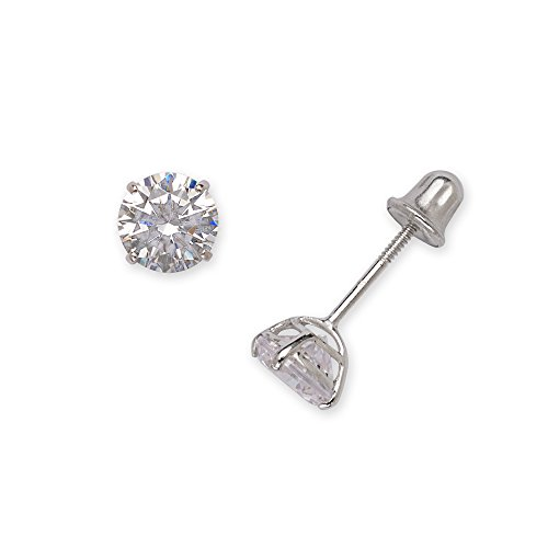 (14k White Gold Solitaire Round Cubic Zirconia CZ Stud Screw-back Earrings (2mm-7mm) (2mm-white-gold))