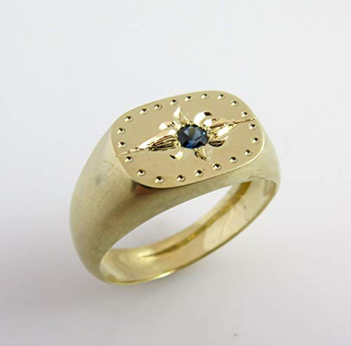 Fleur De Lis 14k Gold ring with Natural Sapphire stone, Signet Statement gold ring, Ancient Franch ring, Unique Engraved Gold ring