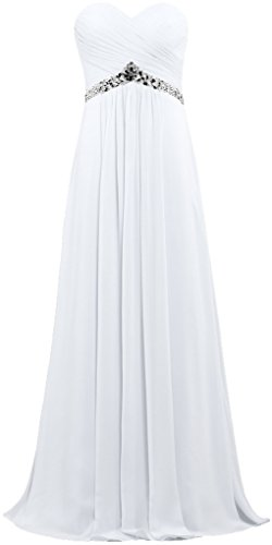 ANTS Women's Strapless Bead Empire Long Chiffon Prom Dress Gown Size 24W US White - Empire Strapless Satin