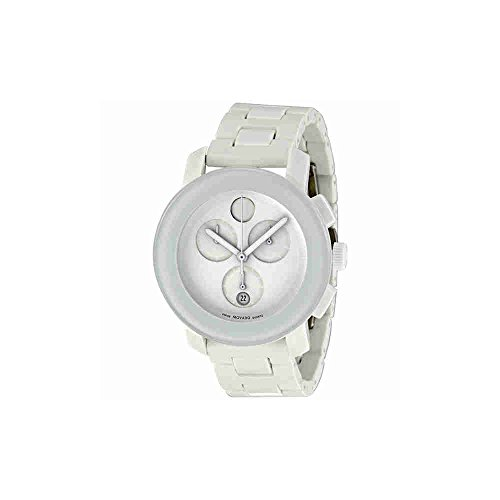 Movado Bold Chronograph PVD White Steel And Rubber Mens Watch 3600057