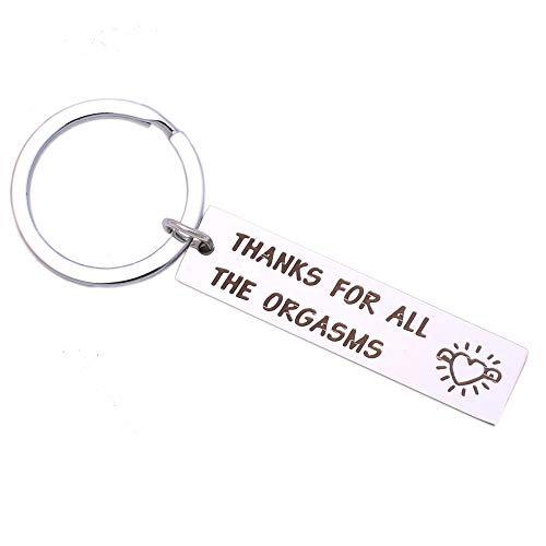 Funny Keychain for Boyfriend Husband, Naughty Couple Gift- Thanks for All The Orgasms(Style1)