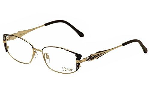 - Diva Women's Eyeglasses 5419 2E Black/Gold/Crystal Full Rim Optical Frame 53mm