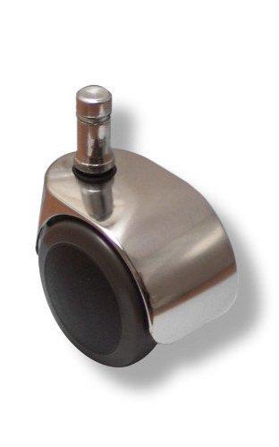HJH Office 619016 5x Design-Rollen VerChromt für Hartböden 11 mm / 50 mm Büro-Stuhl-Hartbodenrollen