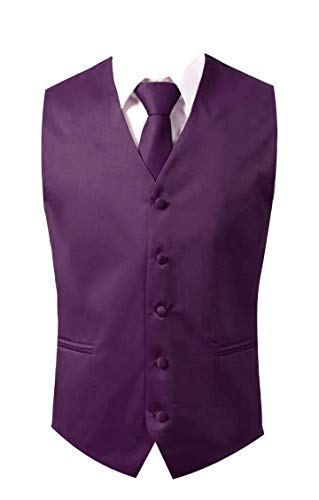 (Brand Q 3pc Men's Dress Vest NeckTie Pocket Square Set for Suit or Tuxedo (XL-Purple))