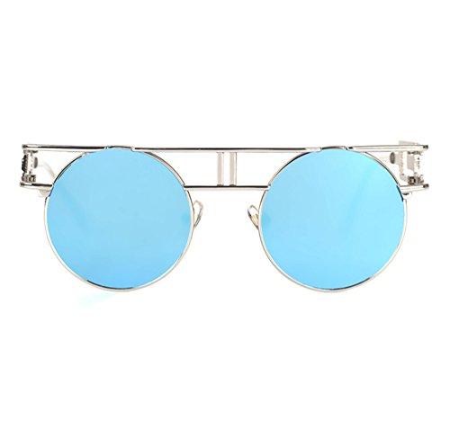 Gafas de vendimia marco reflexivo del de la UV400 sol gótico redondo Azul colorido redondas Plateado clásico rr7xqTwd