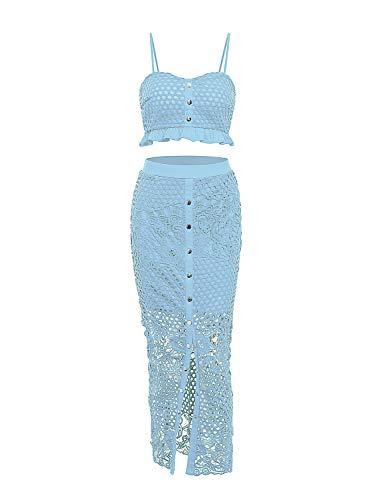 D Jill Women's 2 Piece Lace Outfit Dress Button Down Cami Crop Top Long Skirt Set Blue, Medium