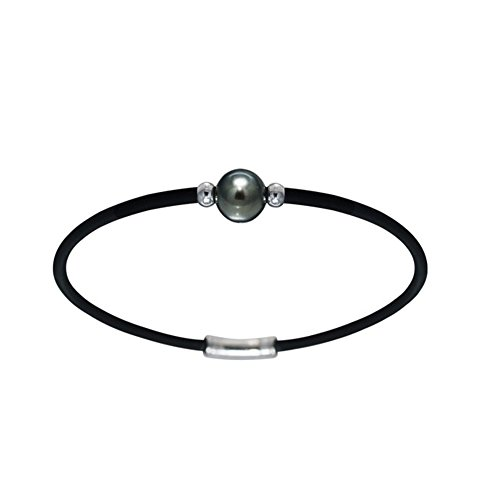 Bracelet Homme Néoprène Perle de Tahiti et Argent Massif 925 -Blue Pearls-BPS K120 W