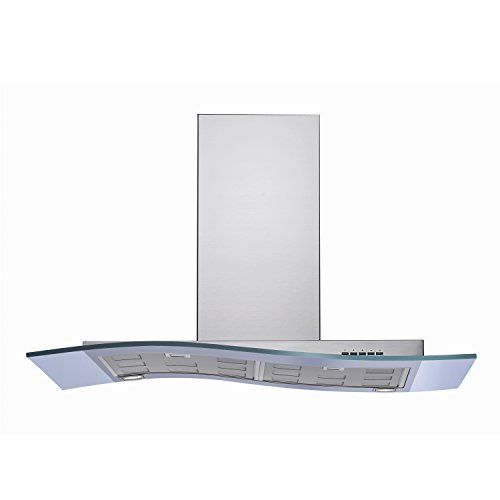 Futuro Futuro Mystic Glass 36 Inch Wall-mount Range Hood, Modern Stainless Steel & Curved Glass, LED, Ultra-Quiet, with Blower
