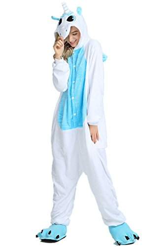 Tickos Unisex Unicorn Pajamas Adult Sleepwear Animals Costumes Cosplay Onesie (Small, Unicorn Blue)