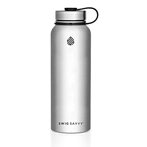SWIG SAVVY Water Bottles Stainless Steel - Vacuum Insulated Water Bottle + Stainless Steel Leak & Sweat Proof Cap Double Wall Thermos Flask for Hot or Cold Beverages (Steel, 30 oz)