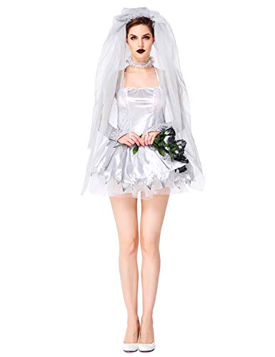 NonEcho Women Gothic Cemetery Ghostly Bride Costume for Halloween -