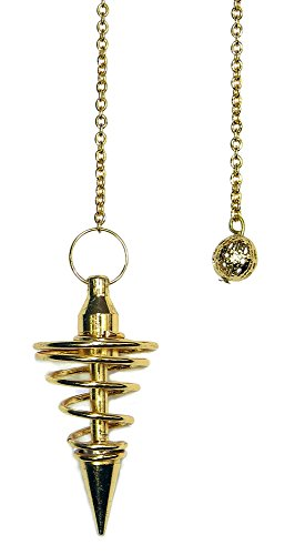 Enchanted Jewelry Gold Metal Spiral Pendulum with Satin Bag and Instruction Leaflet for Divination/Dowsing Tool ()