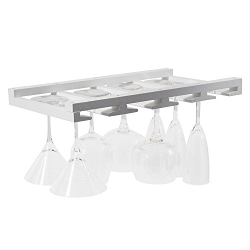 Stemware White Wine (Rustic State Wine Glass Rack Makes Dull Kitchens or Bar Looks Great Perfectly Fits 6-12 Glasses Under Cabinet Easy to Install with Included Screws Great Hanging Bar Glass Rack (White))