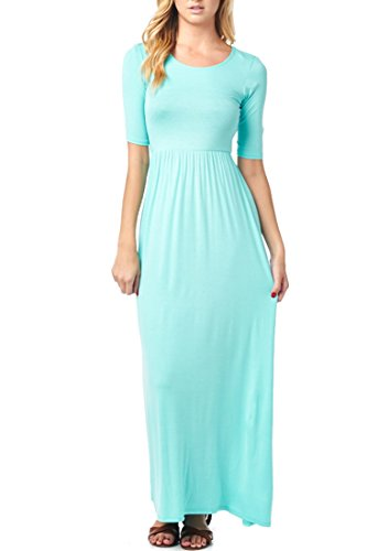 with Women's Made Long 82 In 4 Casual 3 Waist USA Maxi Sleeve Dress Days Mint Elastic aFqFwz