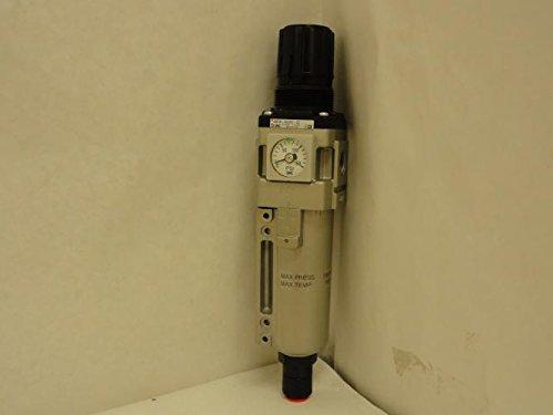 SMC AW30-N03DE-2Z Filter/Regulator, Metal Bowl, 5 Micron, Float Auto Drain (N.O.), Relieving Type, 7.25-123 psi Set Pressure Range, 53 scfm, Square Embedded Gauge, 3/8'' NPT by SMC