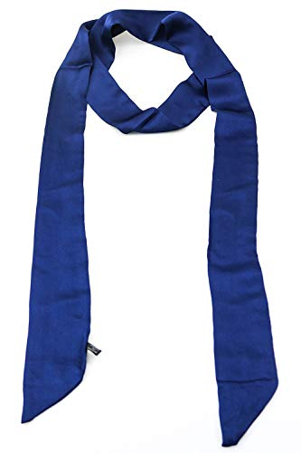 (Teemico 1 Pc Plain Solid Color Satin Summer Skinny Scarf Fashion Headwrap Wristband Bag Assories (Deep blue))