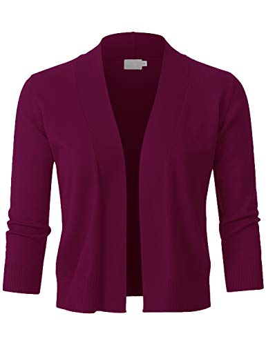 JSCEND Womens Classic 3/4 Sleeve Open Front Cropped Bolero Cardigan Magenta S
