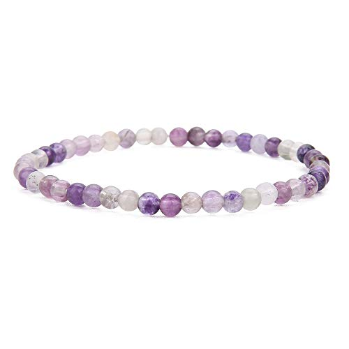 BALIBALI 4MM Mini Gemstone Energy Bracelets Tiny Rainbow Fluorite Bracelet Natural Stone Statement Bracelet Charm Beaded Couples Bracelets
