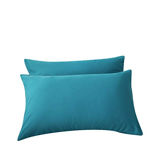 LS Pillowcases Teal Queen Size Pack of 2 Machine Washable Stain, Fade and Dust Mites Resistant