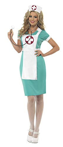 Smiffys Women's Scrub Nurse Costume, Dress, Mock Apron and Headpiece, Accident and Emergency, Serious Fun, Size 14-16, 25870