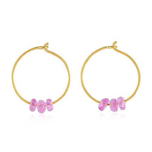 18K Yellow Gold Natural Pink Sapphire Beads Dainty Huggie Hoop Earrings for Women (12 mm diameter)
