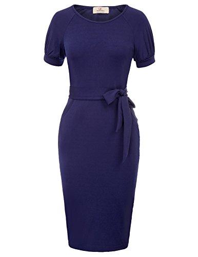 GRACE KARIN Women's Slim Bodycon Business Pencil Dress Size M Dark Blue by GRACE KARIN