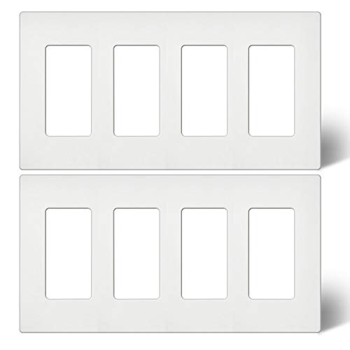 [2 Pack] BESTTEN 4-Gang Screwless Wall Plate, USWP4 White Series, Decorator Outlet Cover, H4.69 x L8.35, for Light Switch, Dimmer, USB, GFCI, Receptacle, UL Listed