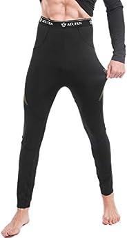 AGUTIUN Men's Thermal Underwear Bottoms Fleece Lined Long Johns Men Base Layer Bottom Winter Sport P