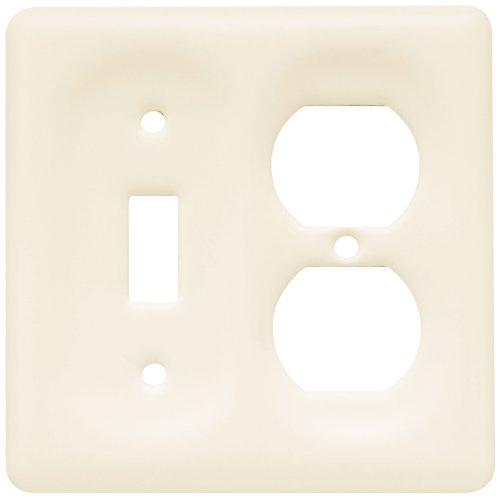 Brainerd 64486 Ceramic Single Switch/Duplex Wall Plate / Switch Plate / Cover, Bisque
